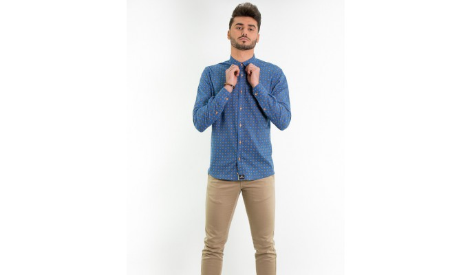 CAMISA ESTAMPADO ROMBOS MANGA LARGA COLOR AZUL DENIM