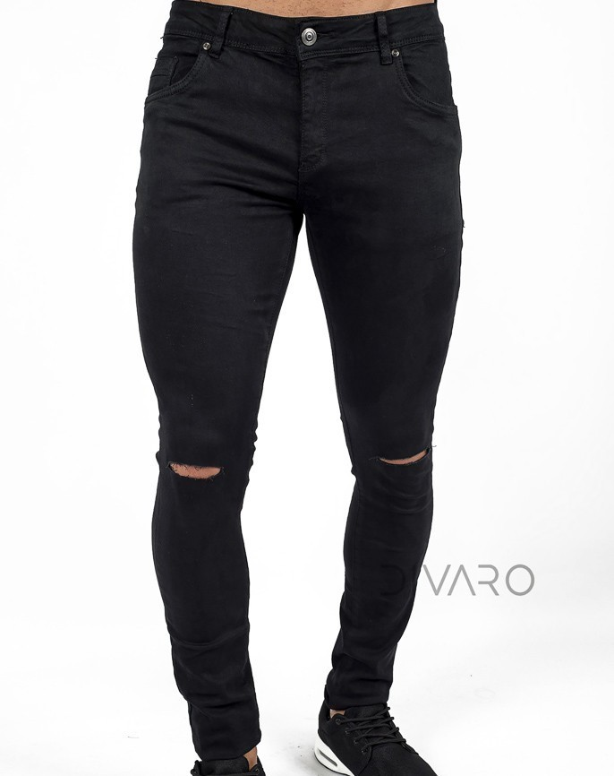 1401e8d082 PANTALÓN DENIM SKINNY FIT ROTO EN RODILLAS COLOR NEGRO